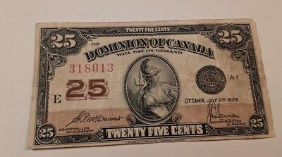 1923 Canada Shinplaster 25 Cents  Note #318013