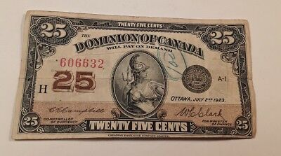 1923 Canada Shinplaster 25 Cents  Note #606632