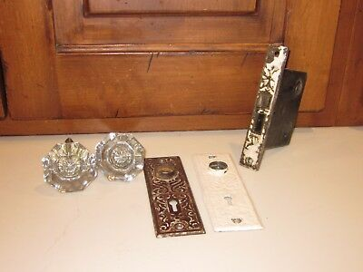 Vintage Glass/Brass Antique Door Knob Set with Plates and Lock
