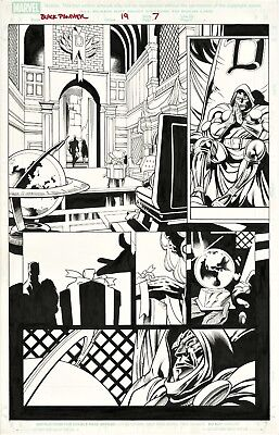 Black Panther #19 Page 7 Original Art Dr Doom On Throne & Storm By Scot Eaton
