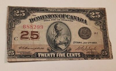 1923 Canada Shinplaster 25 Cents  Note #688299