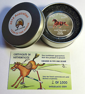 "2014 Year Of The Horse ""Aust Race Horse"" 1 Oz Coin and Tin C.O.A. LTD 1,000."