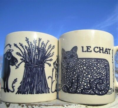 1970's TAYLOR NG LE CHAT BLUE CAT MOUSE YARN LA VACHE COW BULLE BULL COFFEE MUGS