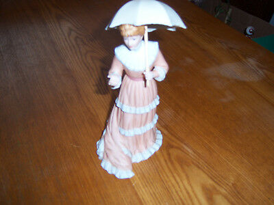"""Homco Home Interior Vintage Porcelain Victorian Lady with Parasol """"Miss Georgia"""""""