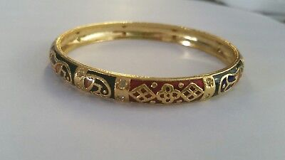 Gold & Colourful Enamel Hoop Bangle with Clear Stones