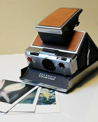 Vintage Brown Leather Polaroid SX-70 Land Camera — WORKS GREAT