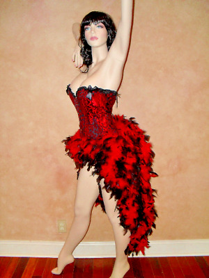 Circus Carnival Dress Medieval Renaissance Showgirl Corset Feather Costume S-3X