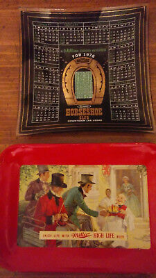 Vintage Trays (2) - Binion Horseshoe Club Casino 1978 - Miller High Life Beer