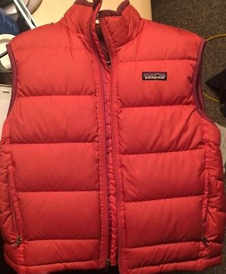 PATAGONIA Kid's Size M Insulated Goose Down Warm Zip Up Red/Orange Puffer Vest