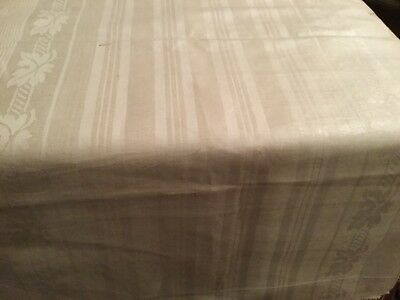 """6 Yards Woven Antique Old  Damask Linen Flax Homespun Vintage Fabric x 19"""" Wide"""
