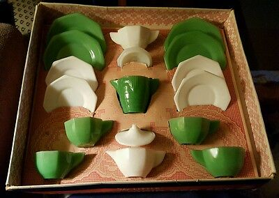 Akro Agate American Maid Tea Childs Dishes Emerald Jadeite jadite Milk Glass Box