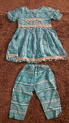Handmade*Vintage Turqoise Outfit*Toddler Baby Girl 3T*GVC