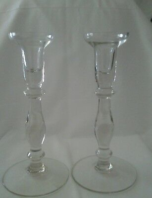Pair Of Brilliant Crystal Glass Candlestick Holders- Has A Large  Candle Rim