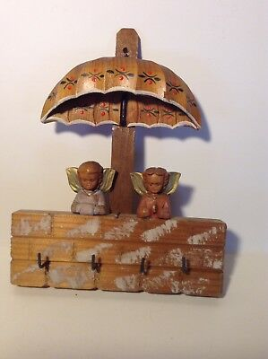 Vtg Wood Key Holder-Italy-Angels-ANRI?