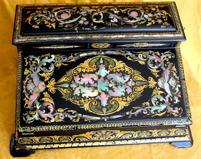 Stunning c.1850 English/French ORNATE Gilt/Mother of Peal Lap Writing Desk/WOW!