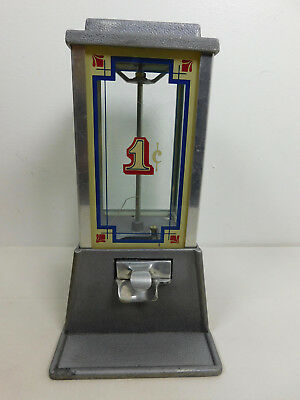 """1975 Vtg GUMBALL MACHINE Metal & Glass - Dean by Penny Arcade 13"""" Tall X 5-8"""" Wd"""