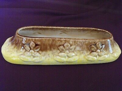 1950s Vintage Pates Potteries Small Trough Vase in Yellow and Brown
