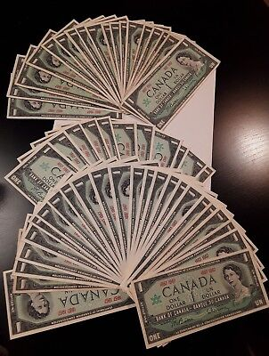 1967 Canada $1 One Dollar Note. No serial number. AU .Set of 53 Pcs