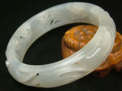 Chinese Antique Old Celadon Nephrite WHITE-Jade Bangle Hollowed out Bracelet