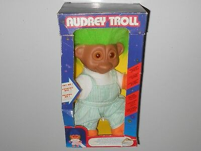 Vintage Battery Operated Light Up Audrey Green TROLL DOLL with Original Box