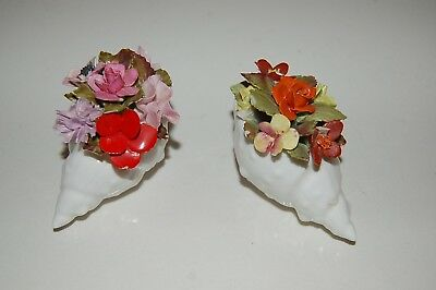 2 Antique Royal Adderley Bone China England Conch Shell Flower Items