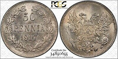 1917 - S Finland Silver 50 Pennia Coin Graded Ms65 By Pcgs