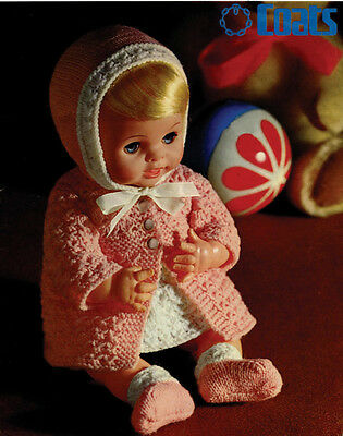 "Vintage Knitting Pattern Copy - To Knit Dolls Clothes  12 & 14"" Dolls -"