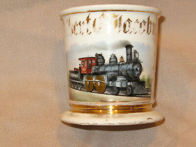 Authentic Antique Train Engineer / Conductor Occupational Shaving Mug Very Rare