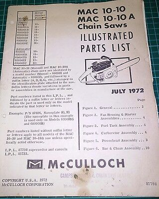 Mac 10-10, Mac 10-10A Chainsaw Parts List July 1972