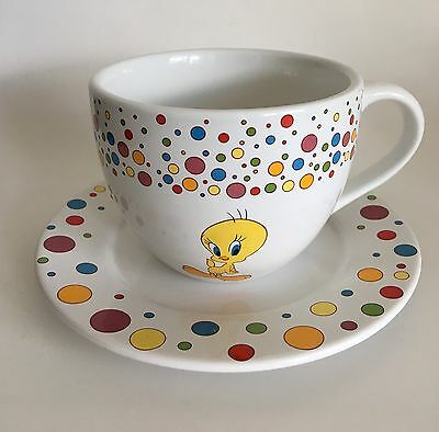 Tweety Bird Oversized Coffee Mug Saucer Embossed Polka Dot Warner Bros