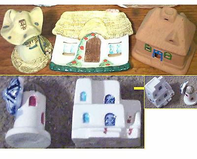 Ornamental Cottages & Windmills Assorted Thematic Set of 5 Porcelain Figurines