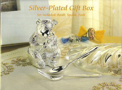 SILVERPLATED GIFT BOX, BEAR BANK, SPOON, FORK in BOX