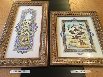 Vintage Persian Miniature Art Wooden Hand Painting Signed