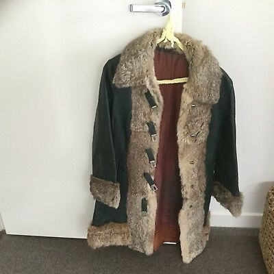 Coat - Leather And Rabbit Fur Trim - Retro - Short Jacket / Coat