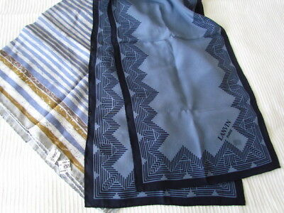 Lanvin Paris Silk Scarf Lot new Heavy Creape Italy Geometric Abstract Blue Navy