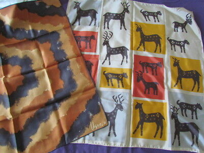Vera Scarves Lot Primitive American Folk Art Animals motif Rust Beige Abstract