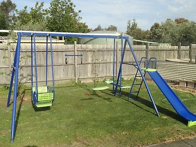 Hills Playtime Swing Set - 4 Bay - Blue & Green - With Slide - Used