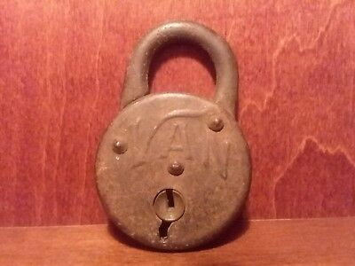 "Antique Vintage Van Metal Padlock Lock 2 1/8"" Tall NO KEY!"