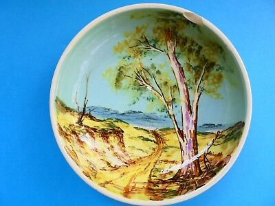 Guy Boyd Bowl Or Dish Signed Hand Painted Landscape Australian Pottery