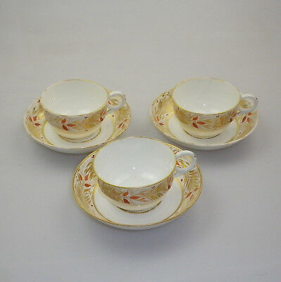 Set of 3 Antique English Cups and Saucers c1810