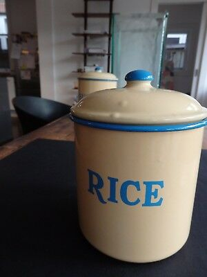 RICE Canister - Blue and Cream Enamelware. Genuine Vintage.