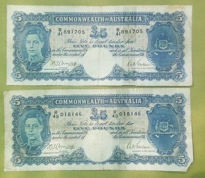 1941 & 1982 Five Pound,One Dollar  Australian notes with problems!!!