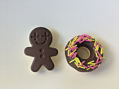2 Earphone/ headphone line cable winders - donut and gingerman