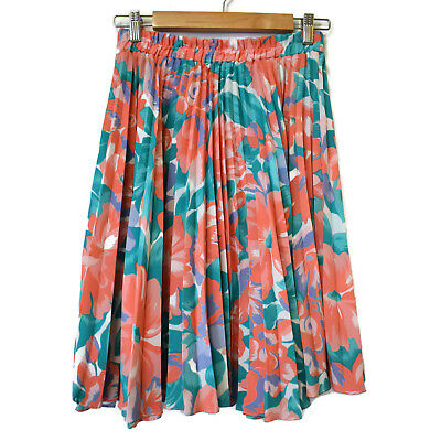 Vintage Katies Floral Pleated Circle Skirt Size S 8 10 Elastic Waist Knee Length