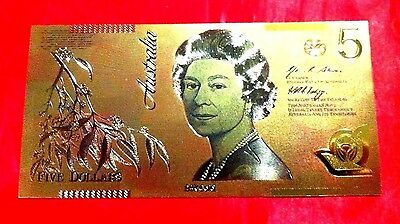 Australian $5 Banknote  24K Gold 3D Colored Color Bank Note Ltd Edition Gift