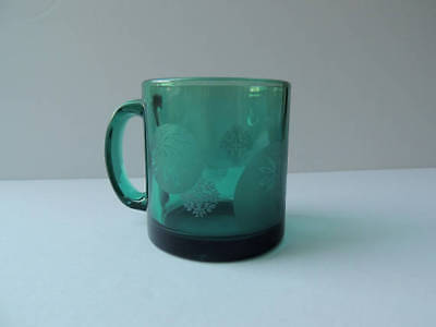 Mint Vintage Winter Theme Snowflakes Coffee Mug Emerald Forest Green Made in USA