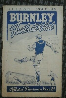 1947/8 burnley  v swindon fa cup 3rd 10th jan 1948