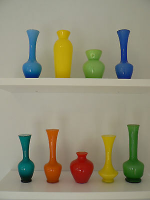 A Collection of Art Glass Vintage Glass Vases Retro Vases Antique Glass
