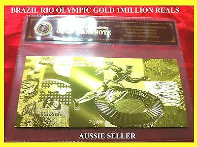 Brazil New Gold Rio 2016 Olympic Games 1 Million Reais Banknote  24Kt Note + Coa