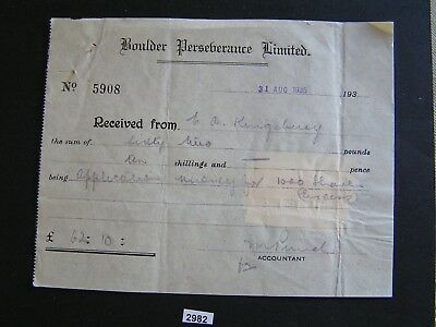 Aust 1935 Boulder Receipt Dated 31/08/1935 with 3 x 1d Stamp Duty